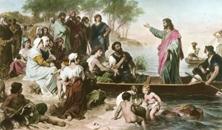 Jesus predigt am See Genezareth
