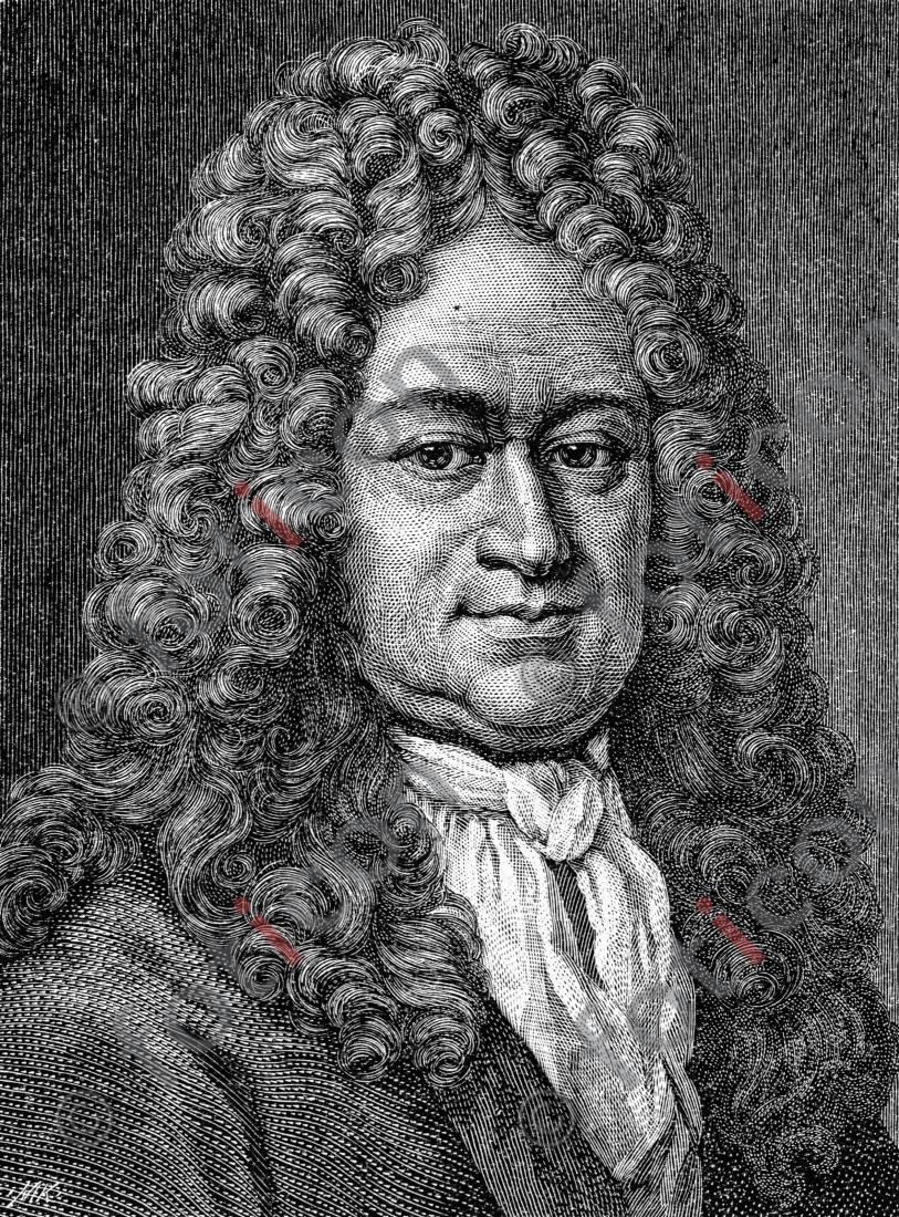 Porträt von Gottfried Wilhelm Leibniz | Porträt of Gottfried Wilhelm Leibniz - Foto foticon-portrait-0066-sw.jpg | foticon.de - Bilddatenbank für Motive aus Geschichte und Kultur